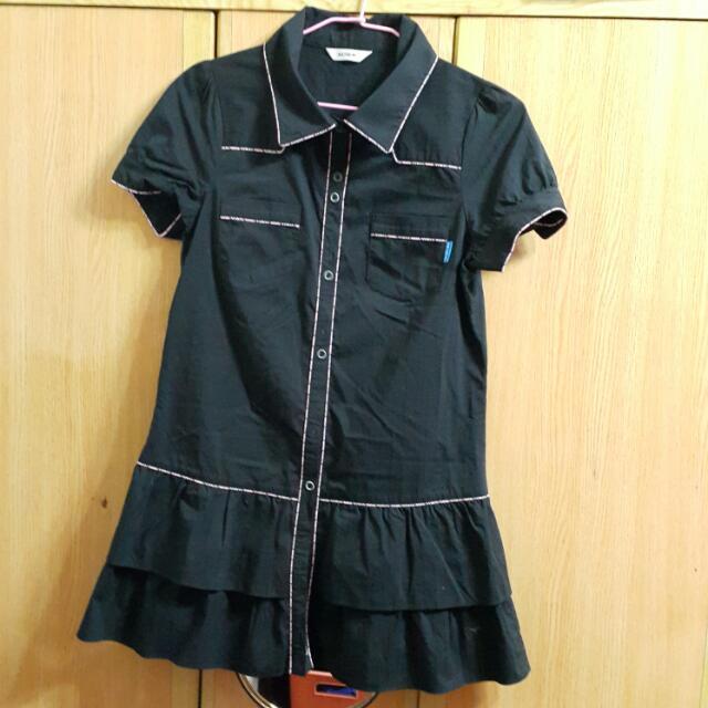 瑪之蜜 黑色 長版洋裝 隔紋