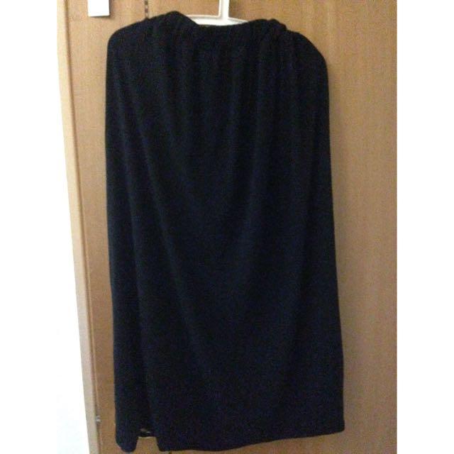 黑裙 棉質黑裙 長裙 黑色長裙 Free size 鬆緊頭哦!任何人都可以穿