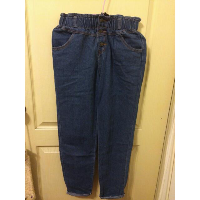 [全新] 東京著衣 高腰鬆緊深藍哈倫褲 L號