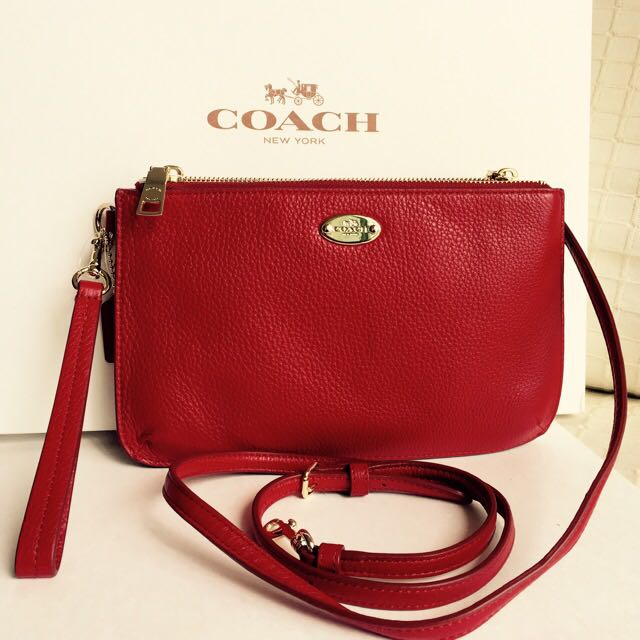 3f4c0b4a85f Brand New Authentic Coach Leather Cross Body with Wristlet Strap Double  Gusset Zip Pouch Bag Purse