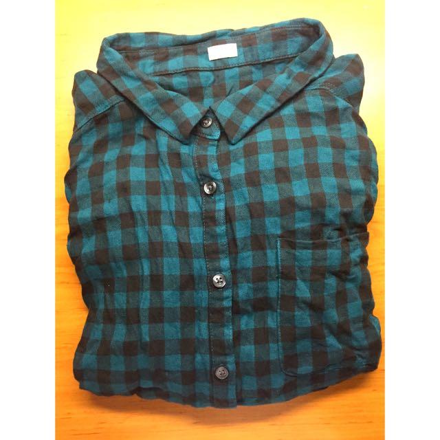 GU🎉格紋深綠襯衫