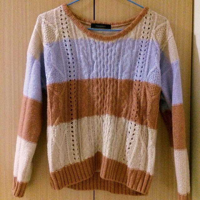 日本連線pageboy粉紫彩色條紋可愛毛衣