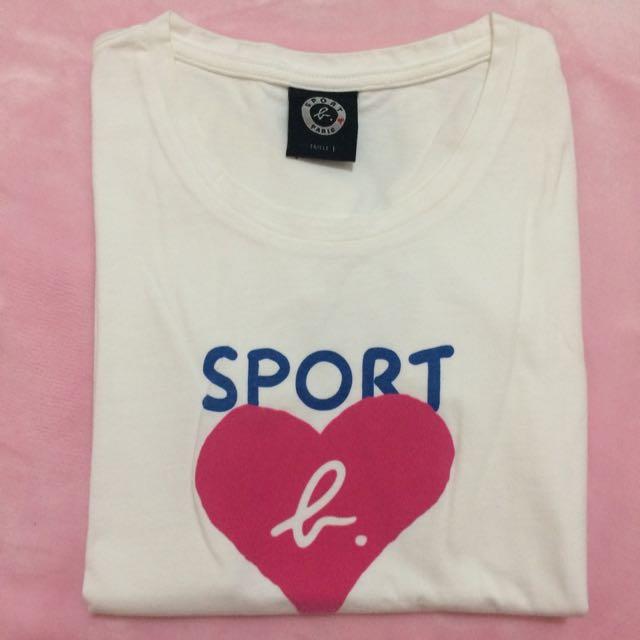 Sport b. 短袖白T 絨布Logo