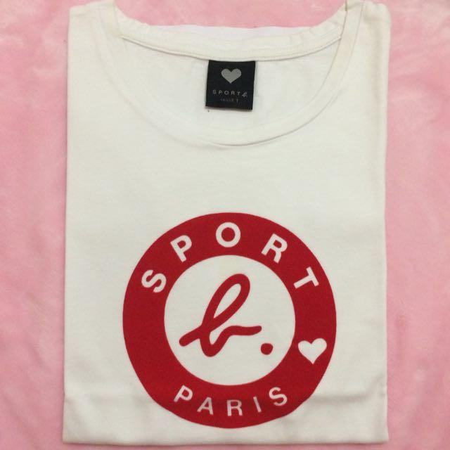 Sport b. 短袖白T 紅色絨布Logo