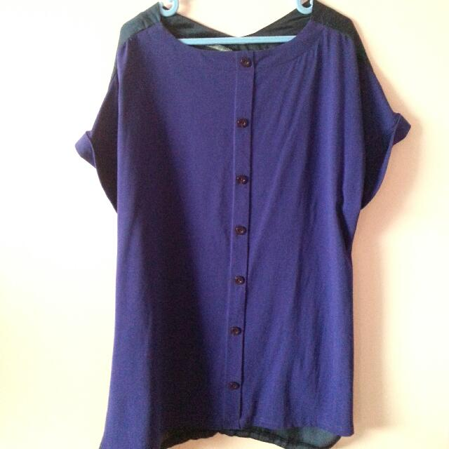 Twin Colour Material Blouse