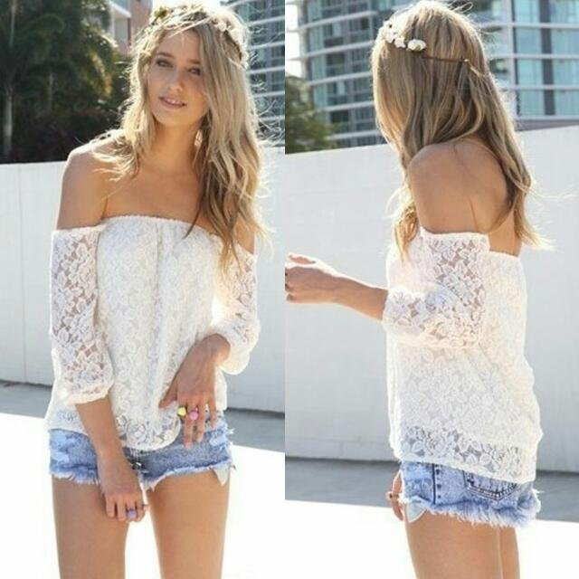 White Lacey Off Shoulder Top