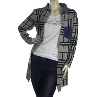 全新 個性粗針織條紋格子拼接立領牛仔長版外套罩衫