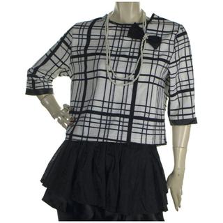 全新 韓版經典黑白格子條紋寬鬆短版七分袖上衣
