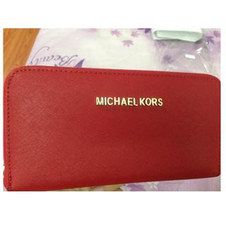 [全新]MICHAEL KORS 時尚紅色長夾 MK
