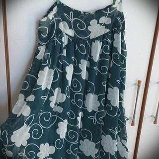 藍綠色印花雪紡短洋裝