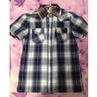 [9成新]假兩件式休閒襯衫 海軍藍 酒紅 中性 M尺寸
