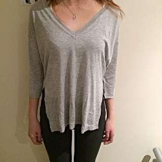 Grey marl thin Deep VNeck Sweater With Side Splits