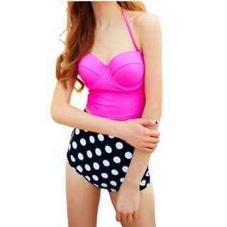 BN - In-stock High Waisted Bikini (Pink And Polka Dot)