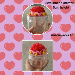 Empty Round Glass Jar With Beautiful Rose, Stars & Hearts