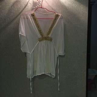 民族風雪紡白色綁帶洋裝上衣