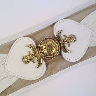 Super Fly 80s White Leather Belt