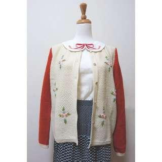 DKN0141209立體花刺繡拼色針織外套