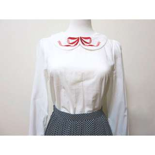 JDSH0141210日單蝴蝶結刺繡圓領襯衫