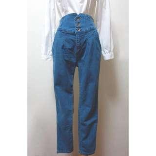 JDP0141213日單復古高腰排扣牛仔老爺褲