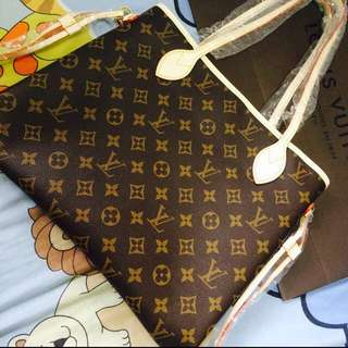 Replica - LV MM Neverfull Real Leather Monogram Canvas