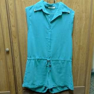 藍綠色連身雪紡短褲