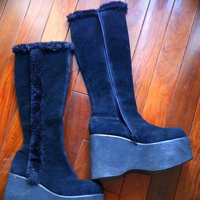長筒絨毛及膝靴(黑,24.5)