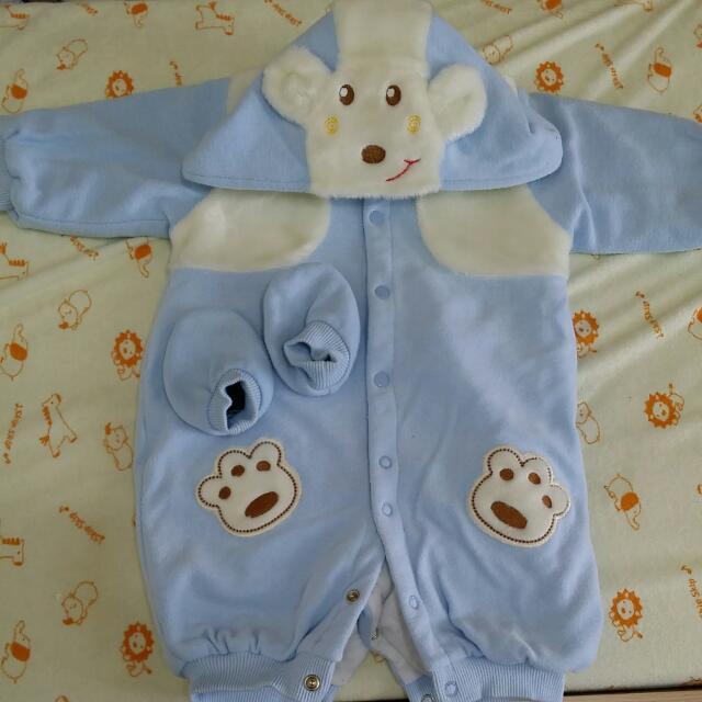 可愛寶寶可拆式連帽套裝~4個月男女寶寶可穿