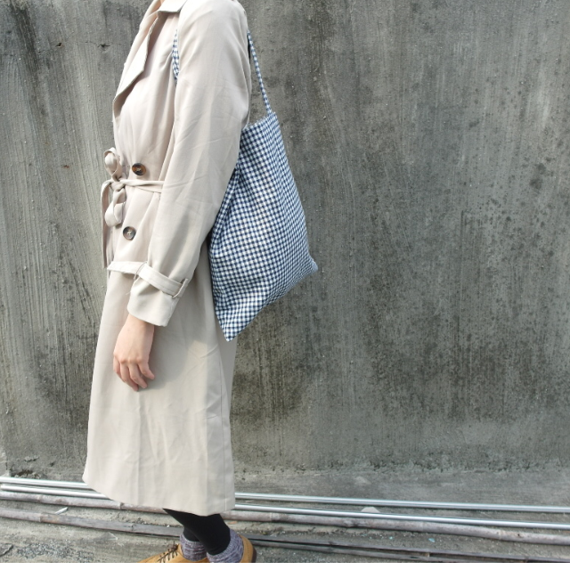 🙆藍白格子帆布包🙆