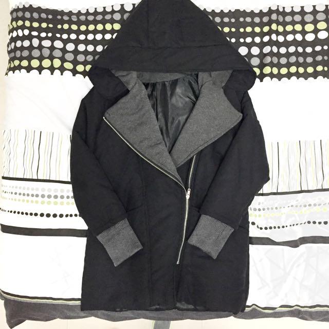 (降價) 連帽長版厚外套