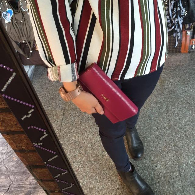 💎(免運)卡夾層超美時尚小包_真皮紫紅復古款 手拿包 小包包 女用皮夾 素色長夾