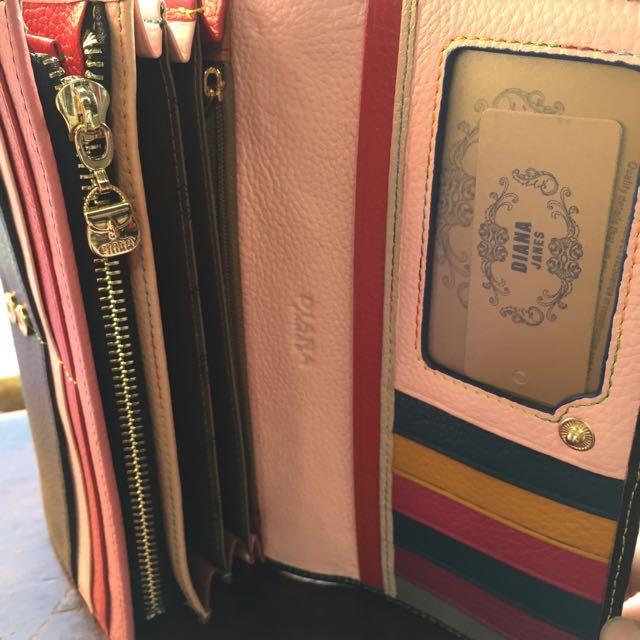 💎(免運)復古色彩內層包_真皮復古包 女用皮夾 素色長夾 多夾層卡層夾 手拿包