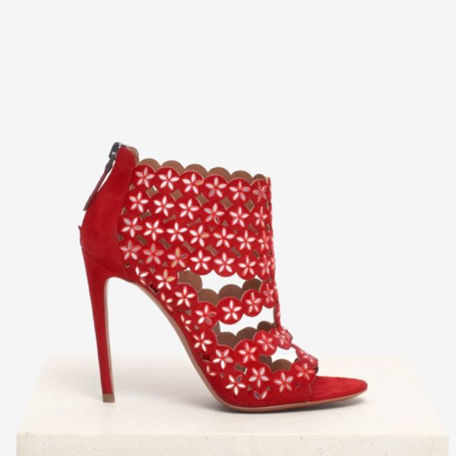red suede azzedine alaia heels