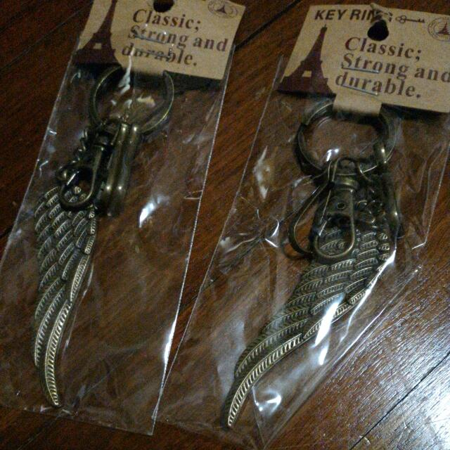 Copper angel wing keychains/pendants
