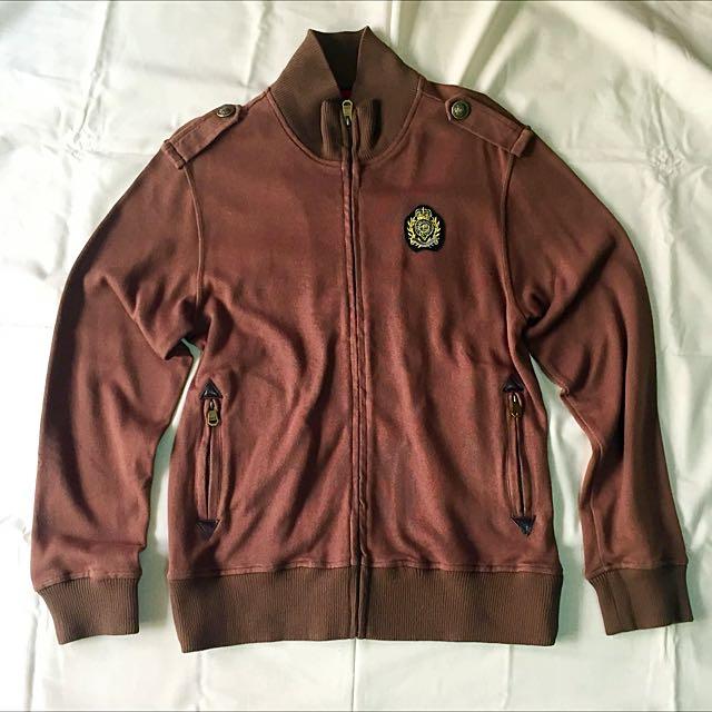EDWIN 牛仔品牌厚挺咖啡褐色軍徽章外套