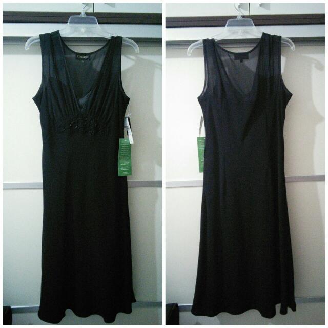 中大尺碼~美國jcpenny百貨公司黑雪紡紗洋裝