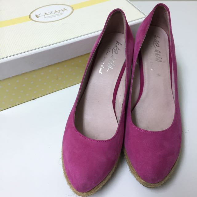 KAZANA 粉紅色 草編厚底楔型鞋