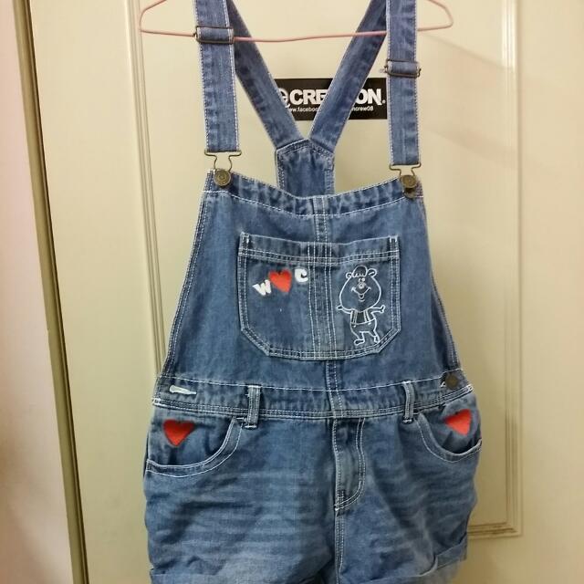 wc熊 刺繡 吊帶褲