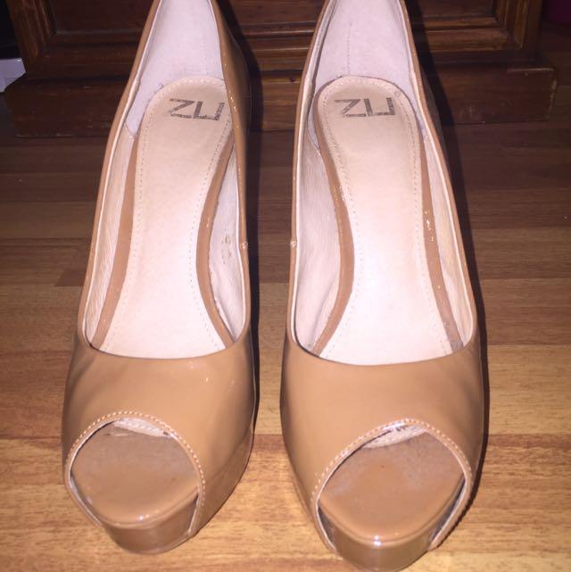Patent Tan Heels Size 8