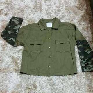 (含運)pazzo短版拼接軍裝襯衫外套