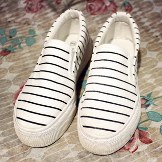 黑白條紋 厚底 休閒鞋