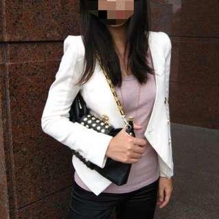 正韓💃白色金釦西裝外套