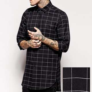 ASOS Smart Shirt In Longline With Large Grid Check