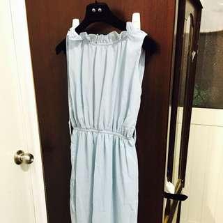水藍色長洋裝