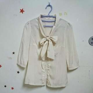 MAYUKI 杏色 前胸綁帶蝴蝶結 七分袖 襯衫 上衣
