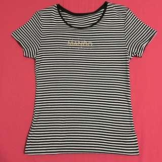 Mango Black And White Stripes Shirt
