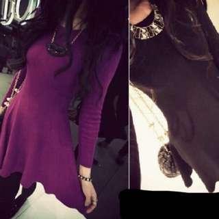 基本款紫色洋裝