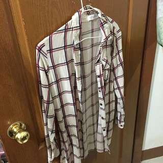 長板格紋襯衫