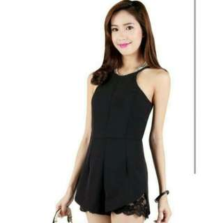 Romper with Cut Out Crochet