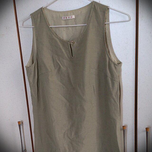 淺墨綠無袖洋裝