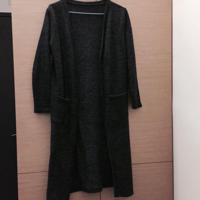 長版雪花灰罩衫